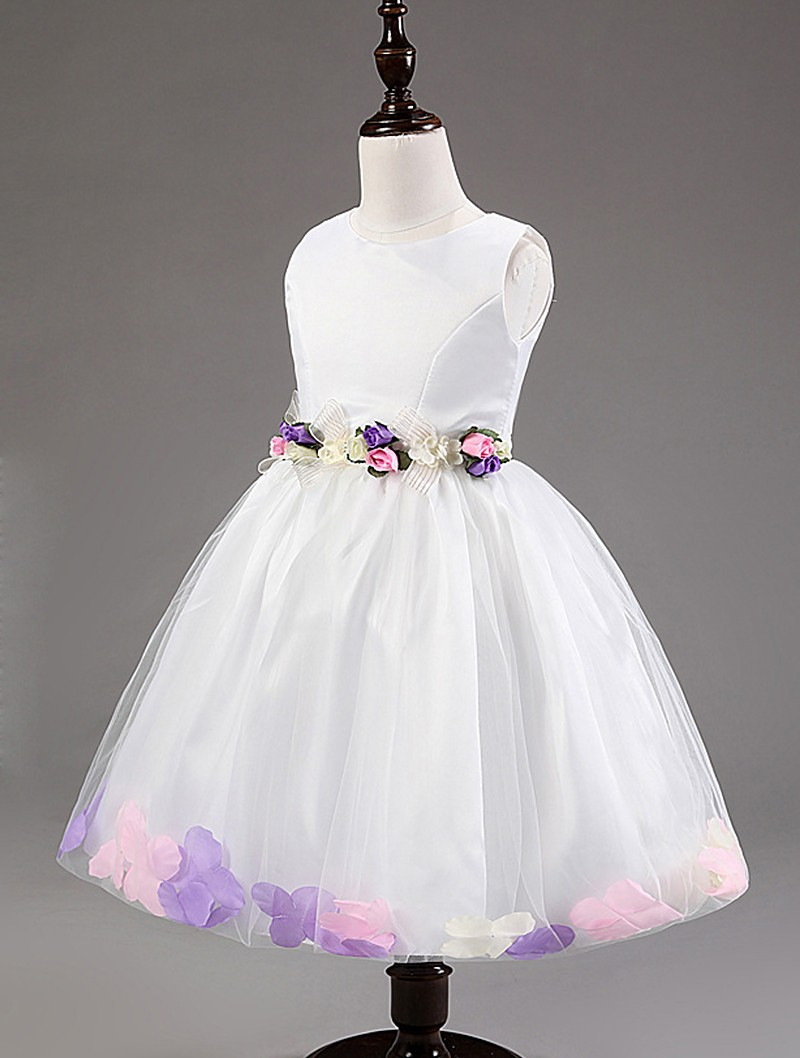 New Elegant Baby Girl Party Dress Sleeveless White Flower