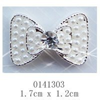 free shipping (10 pcs/pack) 3D white silver double bow tie Alloy AB white pearl Nail Art iphone mobile Glitter Decoration