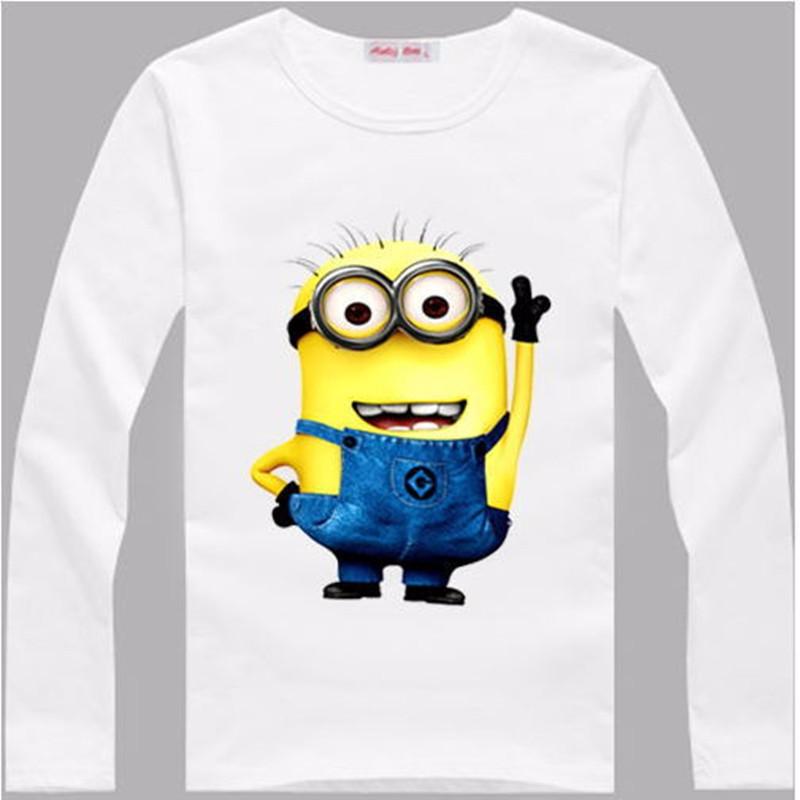 Çocuk Erkek T Shirt Despicable Me 2 Kölelerinin Uzun Kollu Bebek Çocuk T-shirt Kız Çocuk Giyim Için
