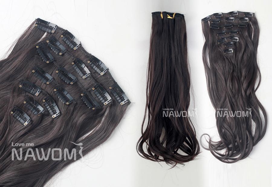 Free Shipping NAWOMI Clip Hair Extention 22inch 7pcs/set 100g heat resistance fibre wavy black mac make up hair extension(China (Mainland))
