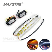 Buy 2x Car Flexible White/Amber Switchback LED Knight Rider Strip Light Headlight Sequential Flasher Dual Color DRL Turn Signal for $17.78 in AliExpress store