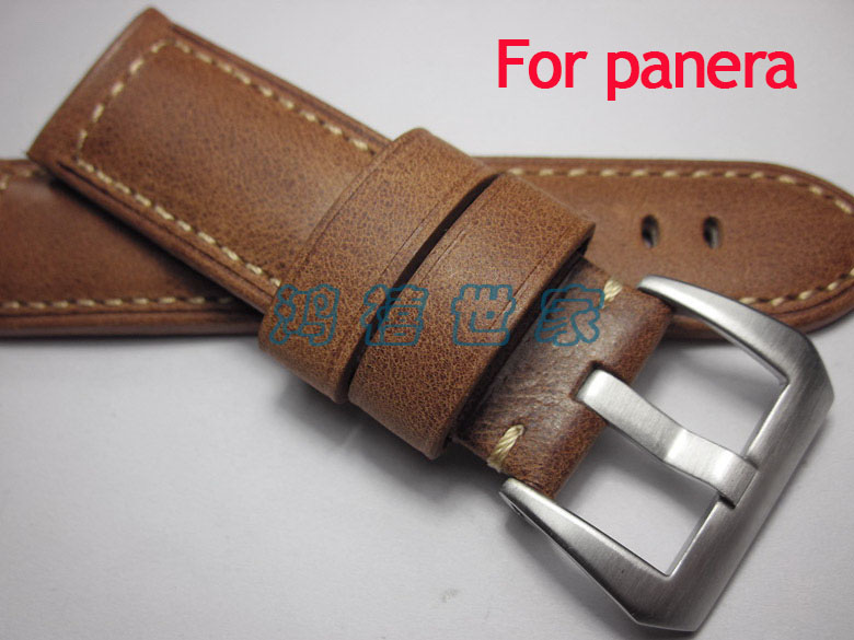 Handmade leather straps, 24mm watchband For Panerai, brown crazy horse leather strap fast delivery!<br><br>Aliexpress