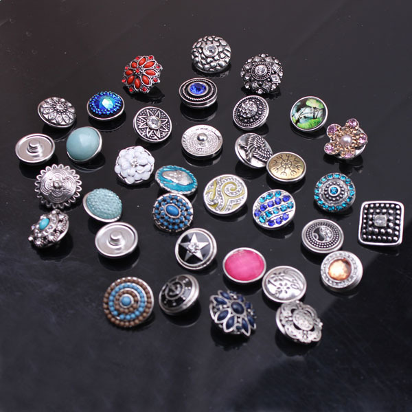 free ePacket 10 Mix Many styles Colors Metal Snap Button Charm Fit 18mm Ginger Leather Bracelet Jewelry - YY Store store