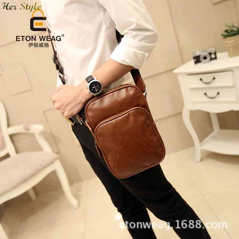 Free Shipping 2015 new mens shoulder bag leather flows leisure man slung Charter small package 1433215337(China (Mainland))
