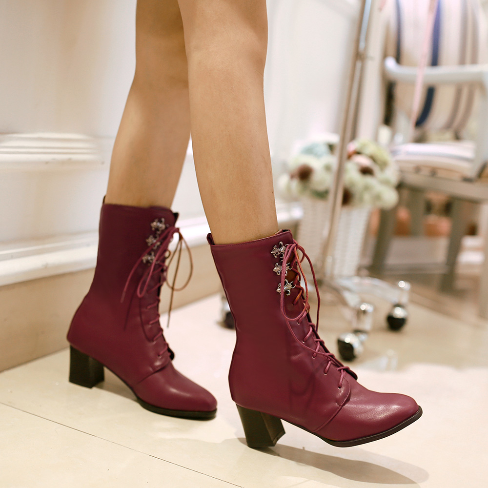 Brand New 2016 Hight hoof Heels Women Ankle Boots Vintage Sexy Motorcycle Boots Fashion lace up Winter Boots<br><br>Aliexpress