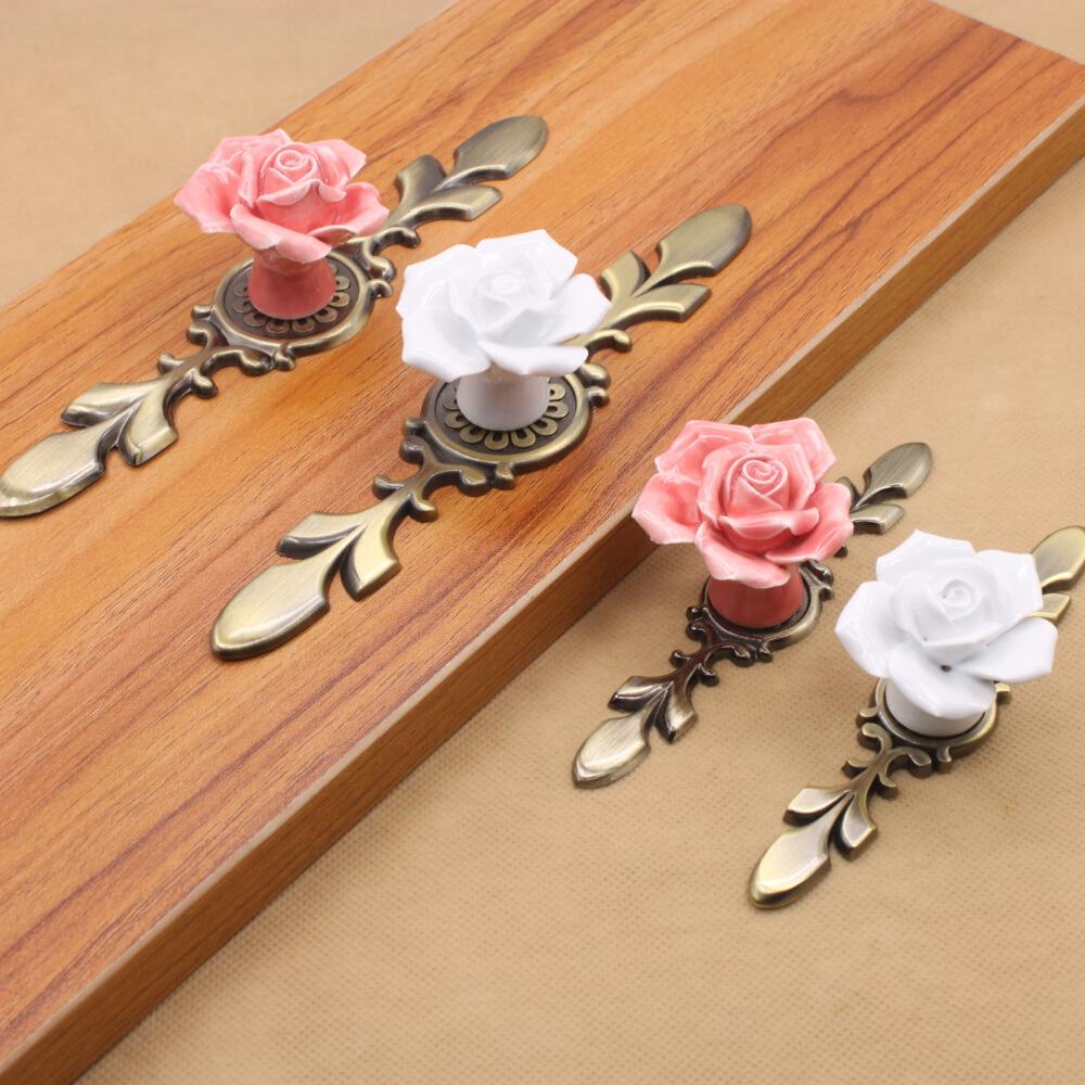 European Style Ceramic Drawer Cabinet Cupboard Door Knob Furniture Handle With Metal Pad(China (Mainland))