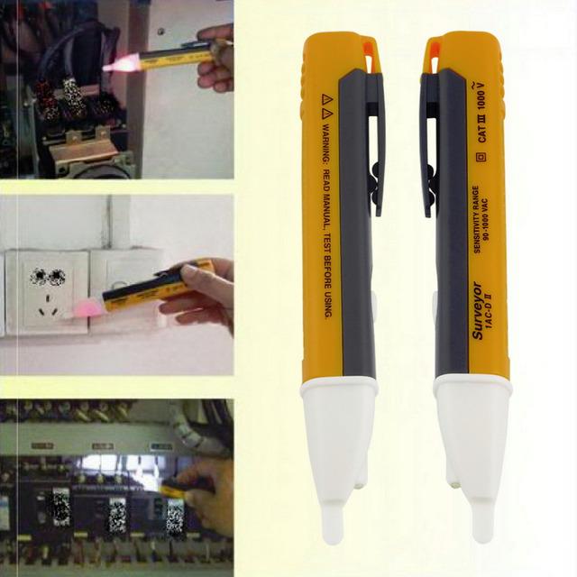 1PCS Electric indicator 90-1000V Socket Wall AC Power Outlet Voltage Detector Sensor Tester Pen LED light New Free Shipping