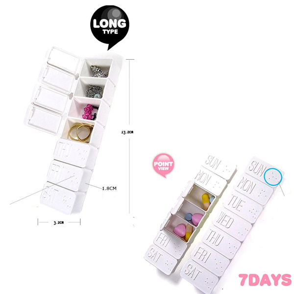 anng Cute 7 Days Weekly nontoxic Daily Long Type Pill Box Drug Storage Pillbox Pill Case(China (Mainland))