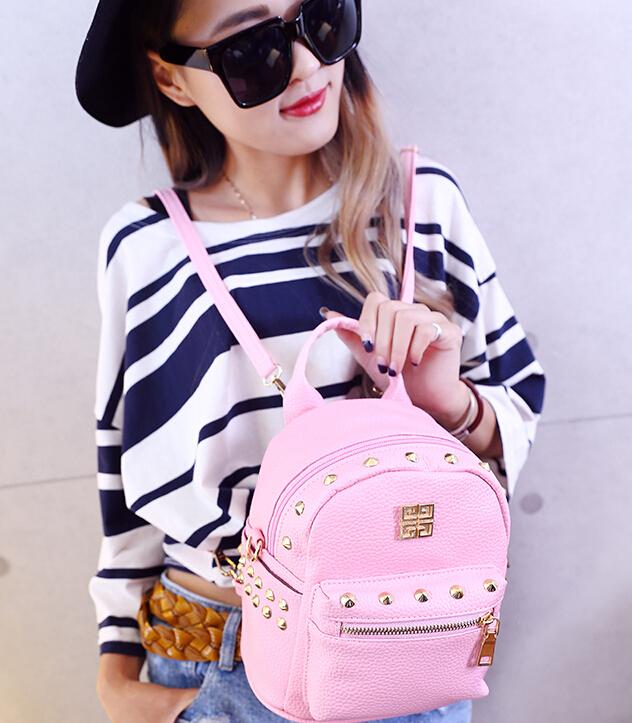 Дизайнерский бренд женщины заклёпка наплечная сумка весна модница мешок, Студент s свободного покроя Mini полиуретан компактный рюкзак