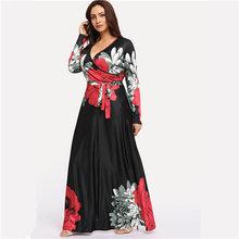 COLROVIE בתוספת גודל שחור מעורב הדפסת פסים שמלה מזדמן נשים 2019 אביב אופנה ארוך שרוול קו גבוהה מותן מקסי שמלה(China)