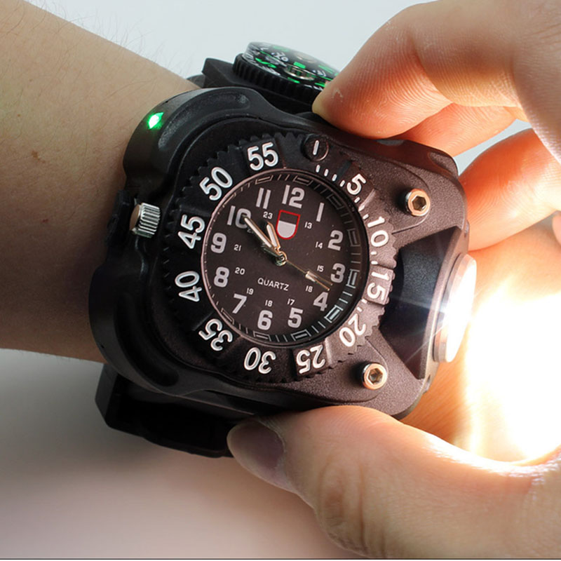 3 in 1 bright watch light flashlight with compass outdoor sports mens fashion Waterproof LED rechargeable wrist watch lamp torch<br><br>Aliexpress