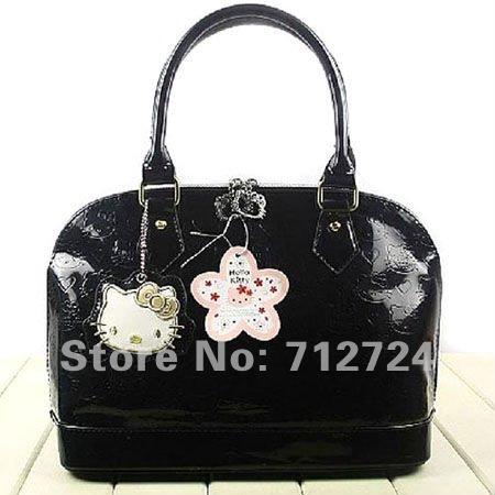 ! Hello Kitty Ladies Black Patent Leather Hand Shoulder Bag Purse Shopping Tote hk72 - Topebiz Ecommerce Co., Ltd. store