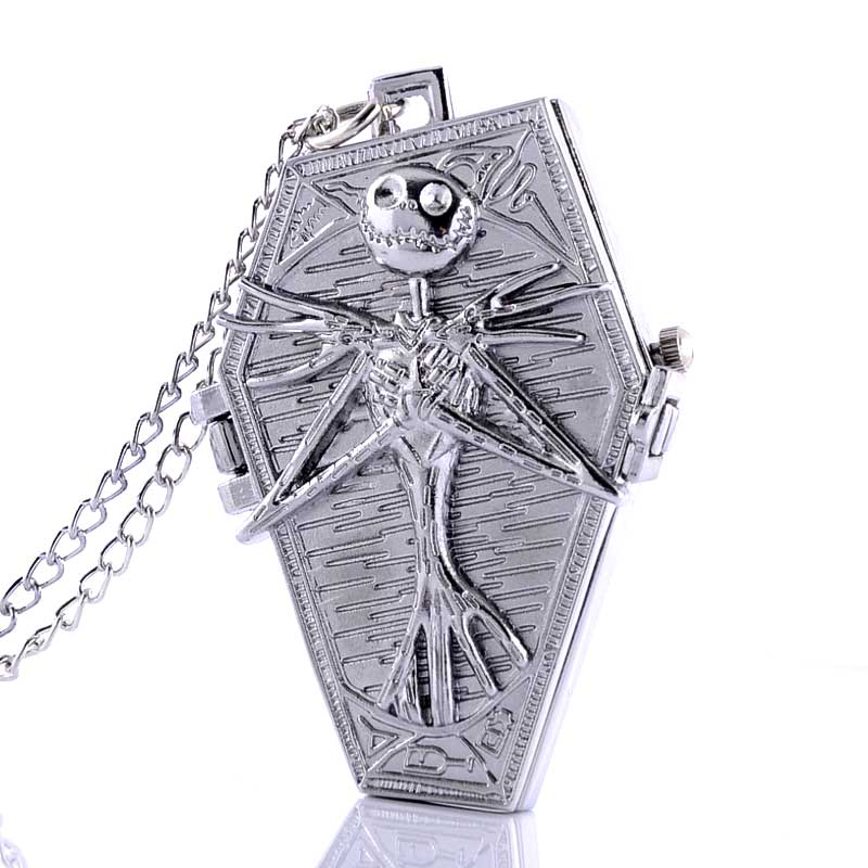 2016 New Silver Nightmare Before Christmas Pocket Watch Necklace Men Women Steampunk Pendant Gift