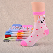 12 Pairs/Lot Kids Boys Girls Cartoon Character Socks 4-15 Years Old Children Breathable Rabbit Print Suitable Socks(China (Mainland))
