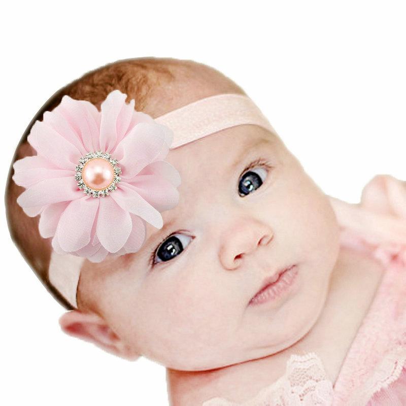 2016 Hot Pink Fascinator Headbands Girls Baby Flower Hairband High Quality Pearl Kids Hair Band Rhinestone Accessories Para Pelo(China (Mainland))
