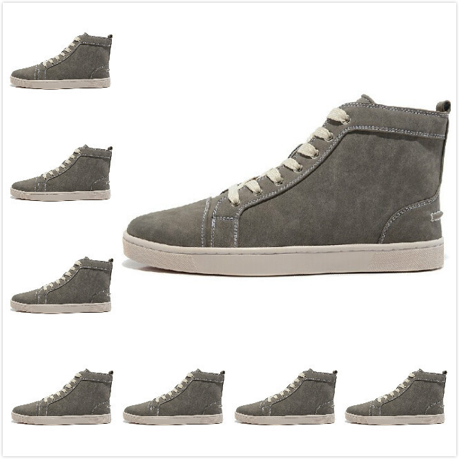 Plus size Men Women Gray Suede Lace Up High Top Fashion Red Bottom Sneakers 2014 Unisex Luxury Brand Winter Casual Shoes(China (Mainland))
