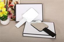 Black white diamond-shaped acrylic portable makeup mirrir cosmetics handle mirror espejo mirrors(China (Mainland))