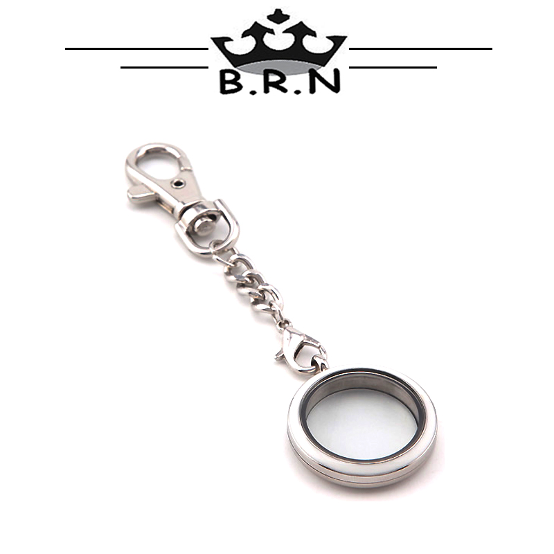 Top Sale Collocation 30MM White Stainless Steel Twist Floating Charms Locket plus 1pcs Keychain for Men and Women 1 Set(China (Mainland))