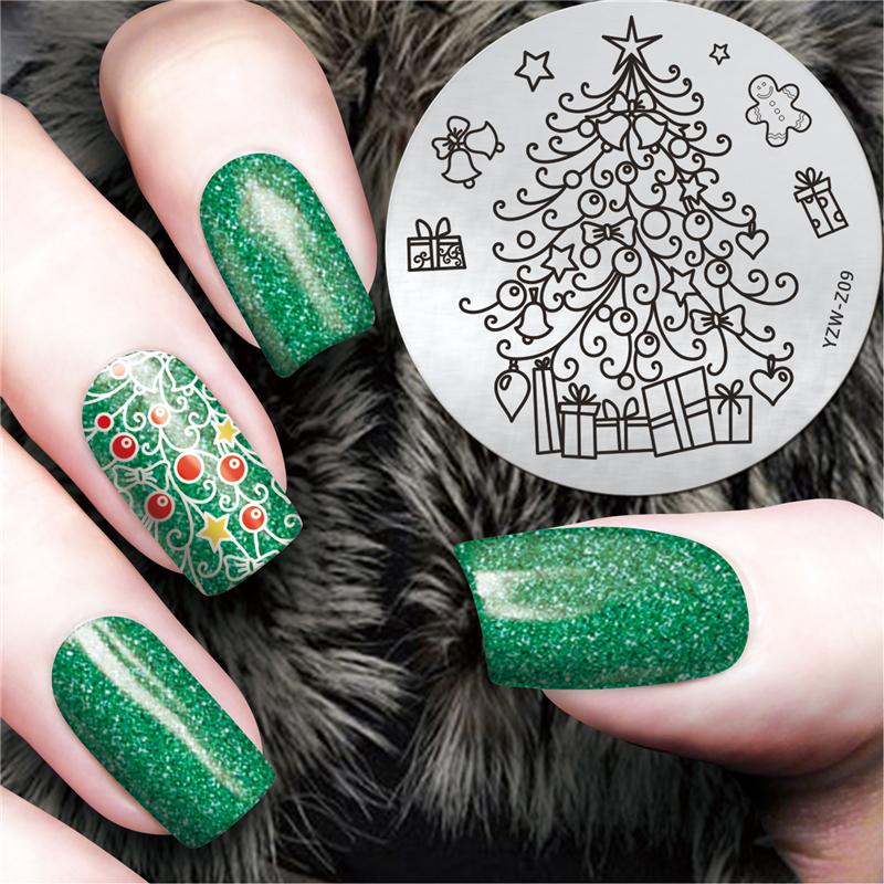 LCJ Fashion New Nail Art Templates 5.5cm Round Stainless Steel Nail Tool Christmas Design Stamp Polish Nail Stamping Plates(China (Mainland))