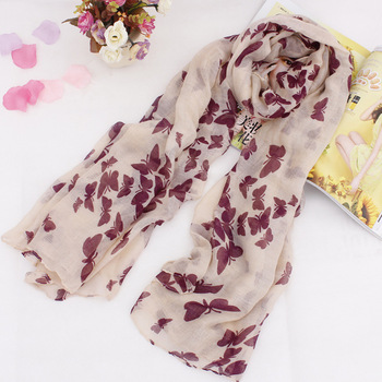 Brand Design 6 Colors Desigual Scarf Winter Scarves Fashion Elegant Romantic Butterfly Printed Cotton Voile Scarf For Woman