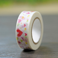 1Roll=15mmx10m Heart Love Pattern Japanese Washi Decorative Adhesive Tape DIY Masking Paper Tape Sticker Label Gift