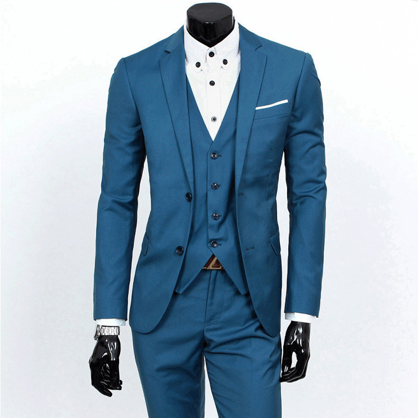 New Style Male Suit Fashion Casual Single Breasted V-neck Full Sleeve Good Quality Turn-down Slim White-Collar Jobs Collar Suits