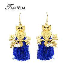 Boucles D'oreille Women Tassel Gold Owl Earrings Black Blue Hotpink Dangle Earring Ethnic Designer Jewelry(China (Mainland))