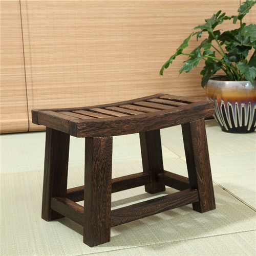 Japanese Antique Wooden Stool Bench Paulownia Wood Asian Traditional Furniture Living Room
