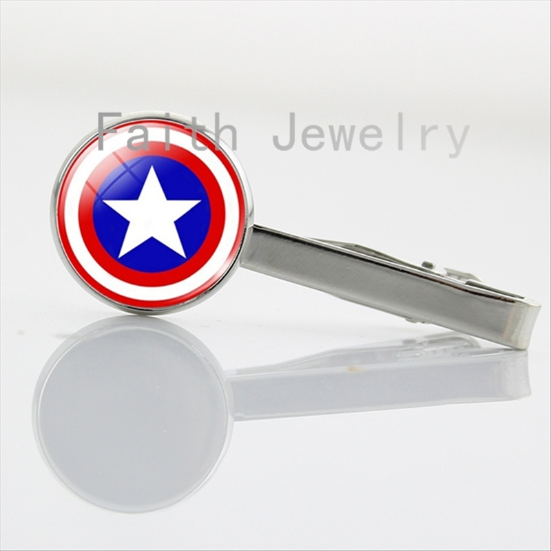 Fashion League Hero series tie clip case for Captain America Spider man Batman Glass Cabochon Silver Plated necktie clamp NS221(China (Mainland))