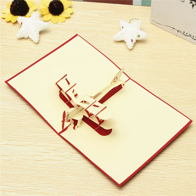 Ideal Gift 3D Glider Soaring Aerodone Birthday Greeting Cards Handmade Paper Art Carving good Gift(China (Mainland))