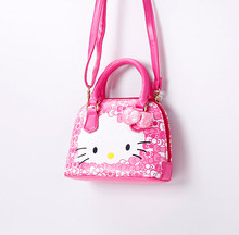 Free Shipping Hello Kitty girl's princess Sequins bag wallet purse portable messenger children handbag(China (Mainland))