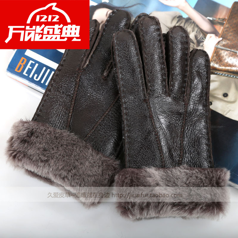 2014 New Winter Women's thermal 100% Genuine Leather Gloves Sheepskin Wool Fur One Piece Real Fur Thicken Warm Glove F164#(China (Mainland))