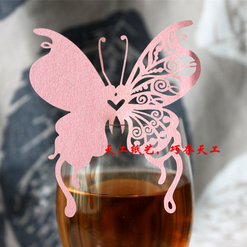 200pcs/lot 3D butterfly shape laser cut glass wine cup topper paper place card wedding cake topper glass markers wedding decor(China (Mainland))