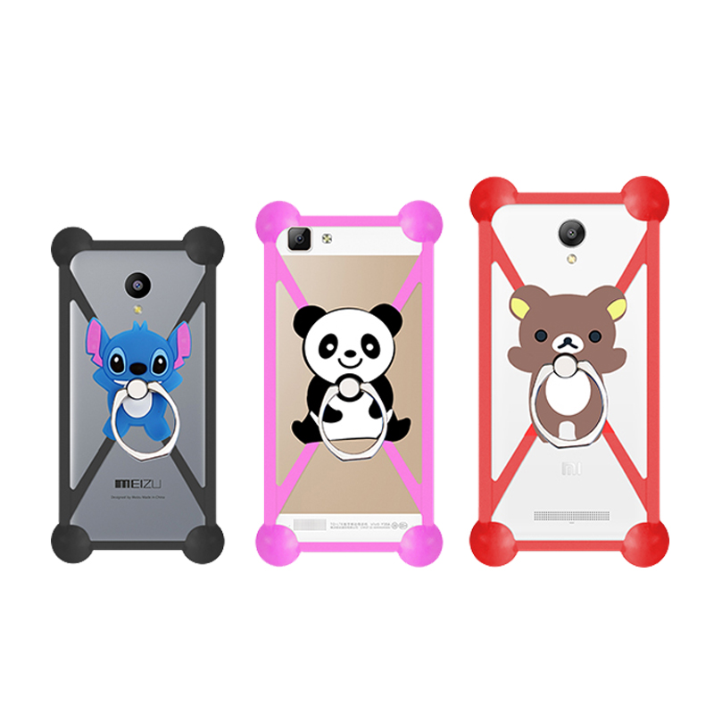 Hot Cartoon Ring Stand Holder Soft Silicone Case For Prestigio Wize D3 Cell Phone Universal 3.5 - 5.5 Inch Bumper Frame Cover(China (Mainland))