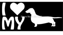 Wholesale 50 pcs/lot Love My Dog Lettering Dacshund Car Window Sticker Truck Bumper Auto SUV Door Vinyl Decal 9 Colors