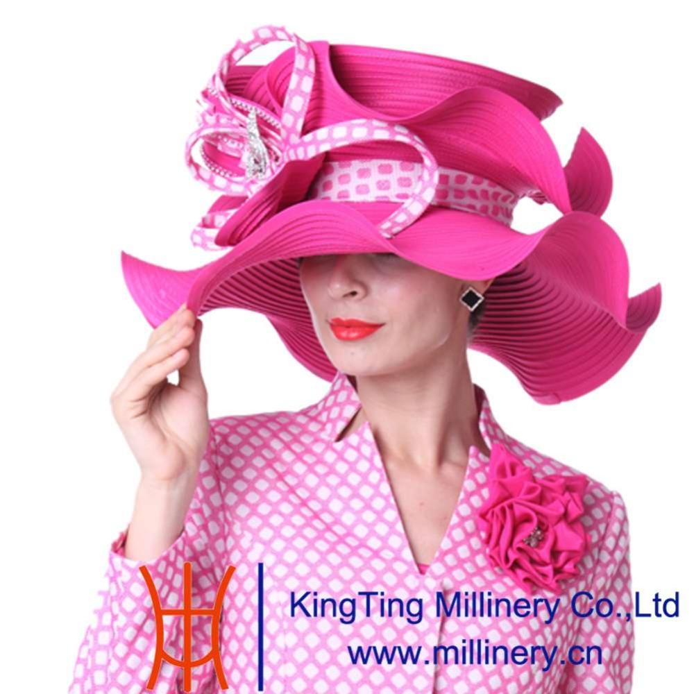 Kueeni Women Hats Big Wide Brim Church Hat Rose Red Color Elegant Lady Fedoras Church Party Fashion Lady Wedding Dress Fedoras(China (Mainland))