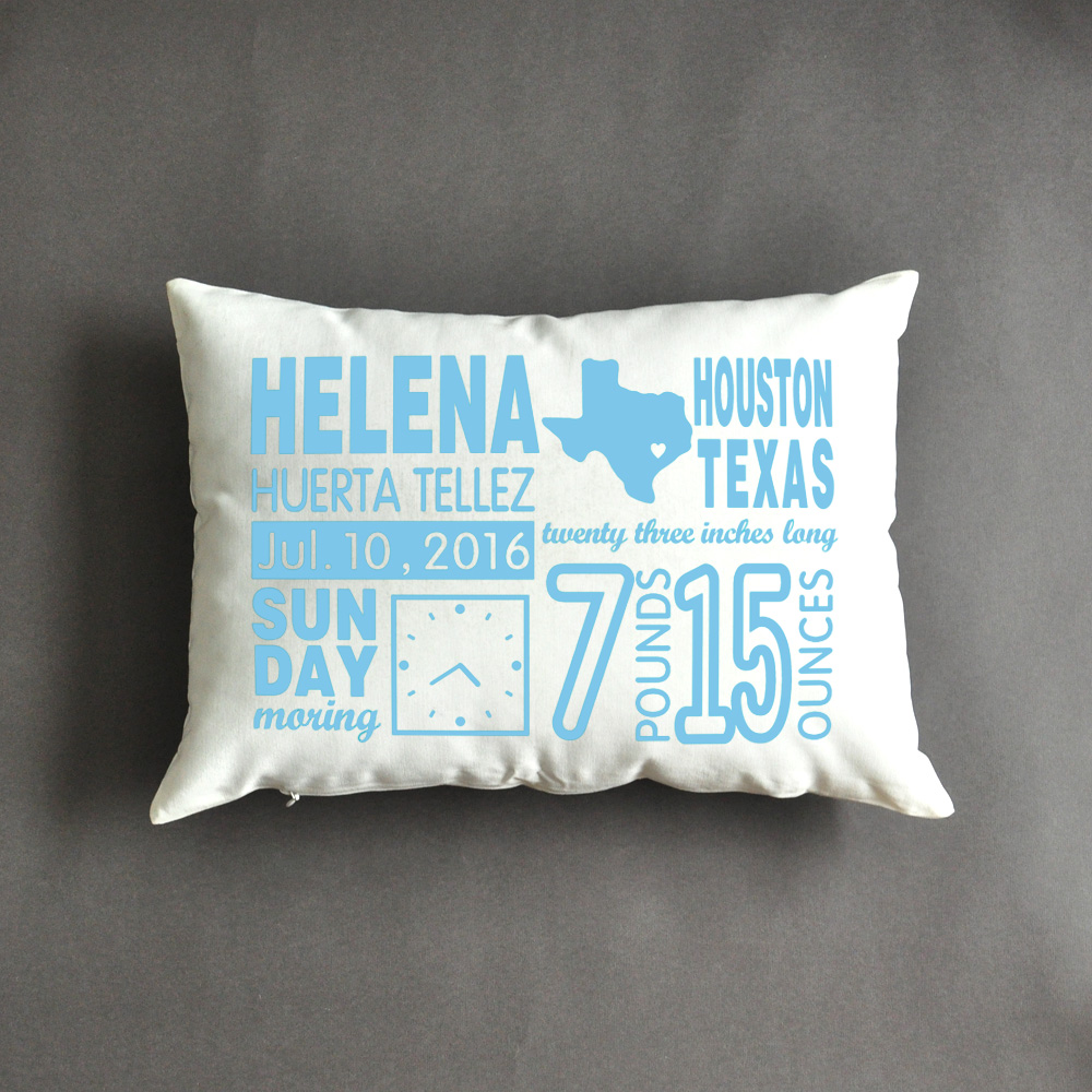 Birth Announcement Pillow , New Mom Gift , Mother's Day Gift , Personalized Baby Gifts,New Baby Gift, Baby Stats Pillow(China (Mainland))