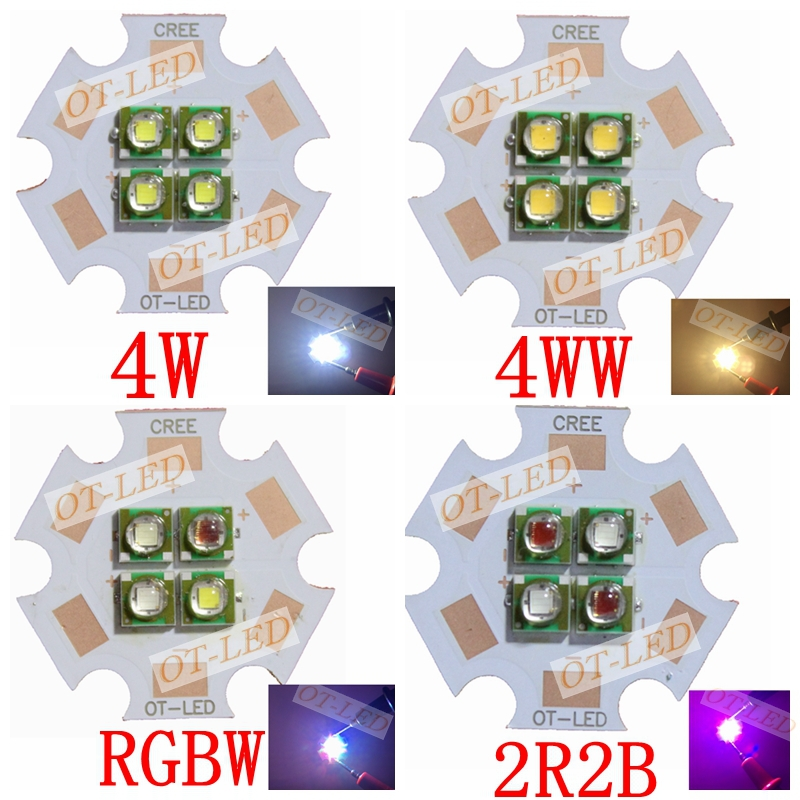 10W 6V/12V Cree XPE XP-E 4 Chips LED Emitter instead of MCE XML White Red Green Blue Yellow LED with 20MM Cooper PCB(China (Mainland))