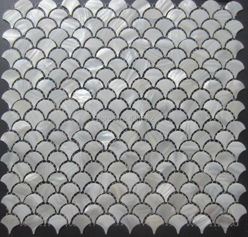 Factory direct pricing!! D=25;pure white mother of pearl tiles Fan-shaped kitchen backsplash tiles,; bathroom wall mosaic tile(China (Mainland))