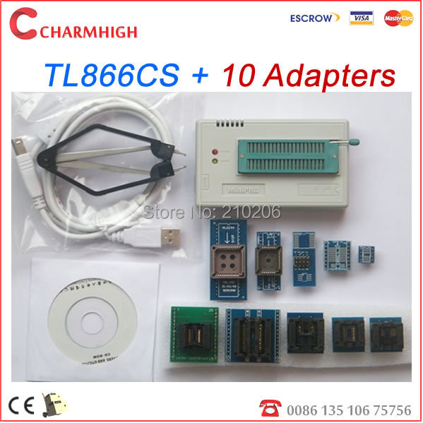 New version 6.1 software TL866cs Programmer + 10pcs adapters, support 13143+ IC AVR PIC Bios 51 MCU Flash, WIN7 64bit WIN8(China (Mainland))