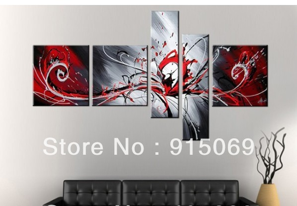 Red Wall Decor Art : Wholesale black red white abstract wall art canvas oil