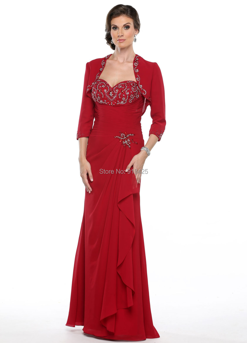 Free shipping long chiffon beaded red mother of the bride for Dress and jacket outfits for weddings