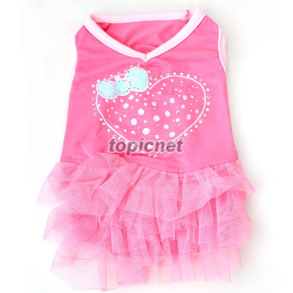 ASLT Cute Net Yarn Cloth One-piece Pet Puppy Dog Bubble Skirt Dress Rose Red XS(China (Mainland))