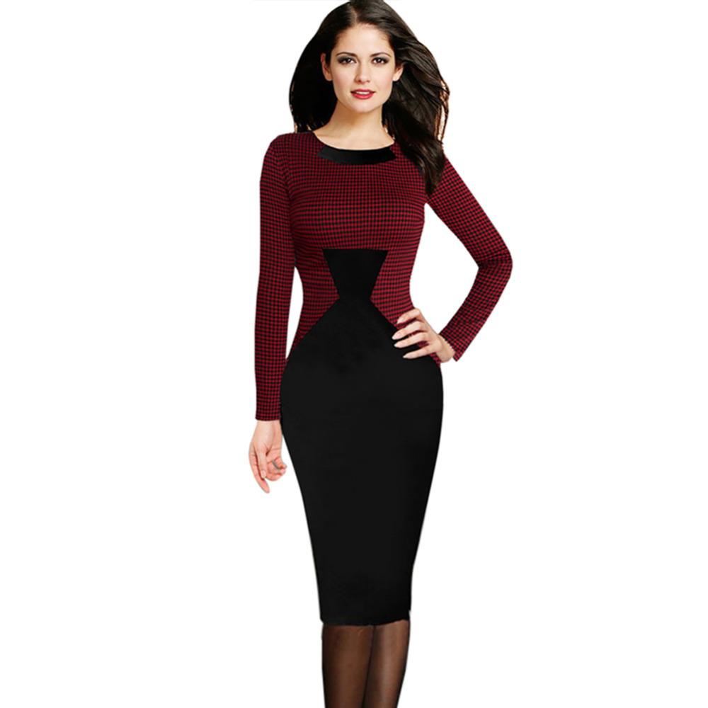 Women Long sleeved Red font b Plaid b font Stitching Knee Length Gown Dress funnel Waist
