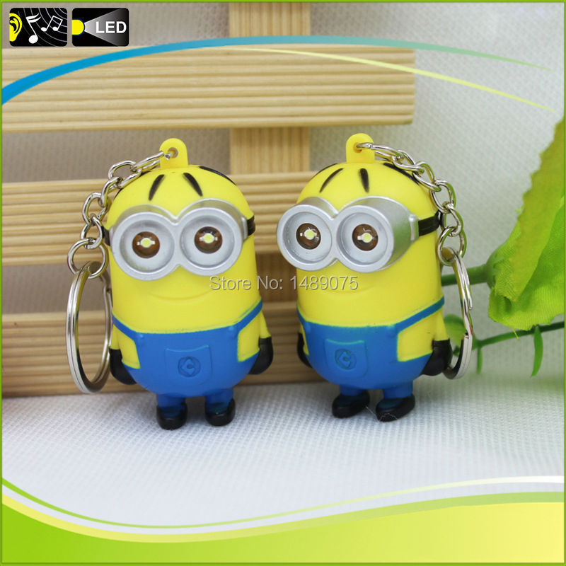 2016 New Cartoon Movie Despicable Me 2 Minions PVC Action Figure Toys 3D eyes Led Light-Up Toys Retail And Wholesale(China (Mainland))