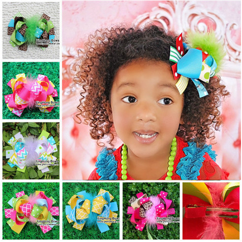 baby girl kid feather hair clip pin ribbon bow fabric flowers style accessories for hair gum hairpin barrette ornaments hairclip(China (Mainland))