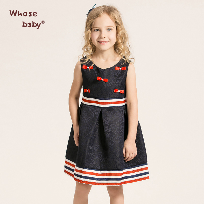 Girl Clothing Brand Girls Dress Children Clothes Toddler Short Floral bow Pattern Princess Party Dresses For Girl WHOSEBABY(China (Mainland))