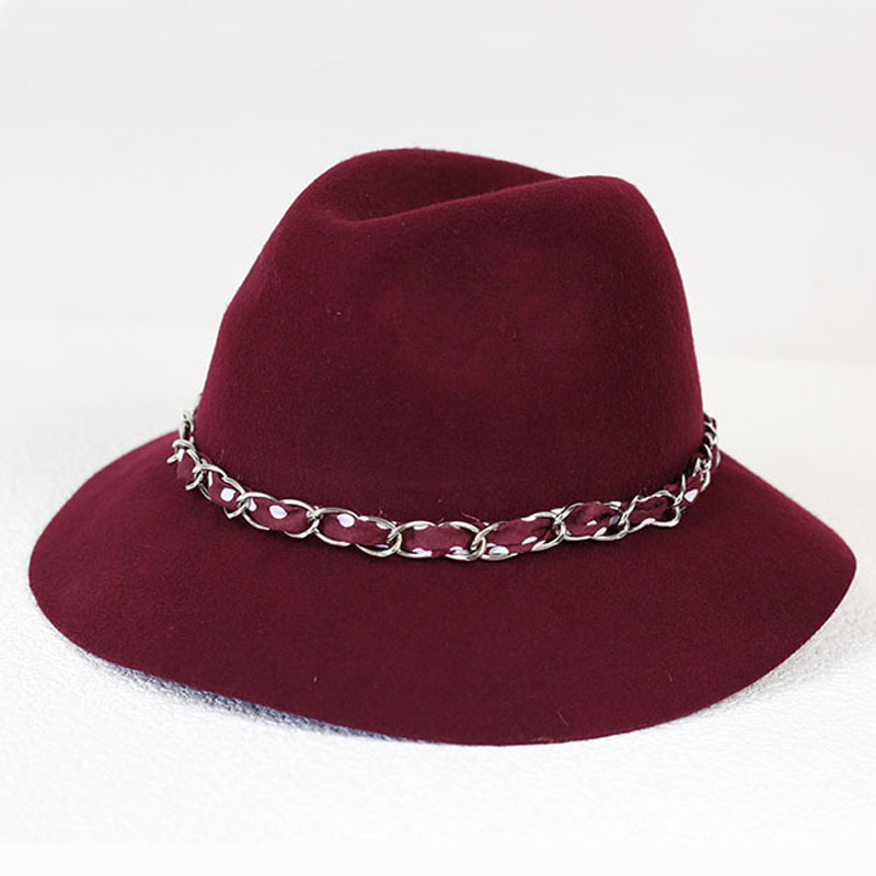 England Vintage Wine Red Elegant Women Felt Hats Winter Wool Floppy Fedoras With Band Lovely Lady Girl Jazz Hat [H091](China (Mainland))