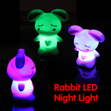 Hotsale Children Kid Favor Gift Toy LED Night Light Rabbit Lamp Color Changing