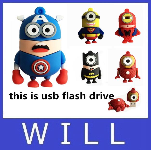 usb flash drive 64GB pen drive 32GB Captain America super hero minions 16GB 8GB 4GB 2GB lovely cartoon Despicable Me Pendrive(China (Mainland))